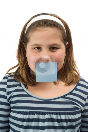 Sticky Note stock photo, A young girl with a sticky note over her mouth, isolated against a white background by Richard Nelson