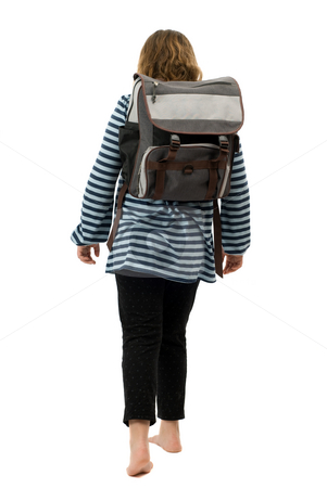 Girl Walking To School stock photo, A young girl walking to school with no shoes on, isolated against a white background by Richard Nelson