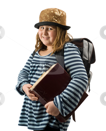 School Girl stock photo, A young school girl carrying a large dictionary, isolated against a white background by Richard Nelson