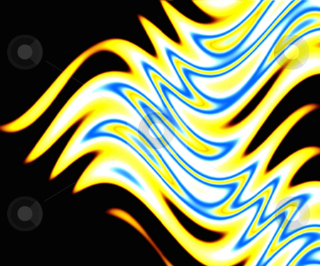 Vivid Flames stock photo, A beautiful abstract background featuring yellow and blue flames over black. by Todd Arena