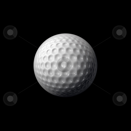 Golf ball stock photo, A white gold ball isolated over a black background. by Todd Arena