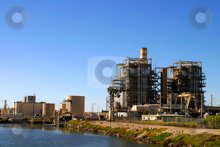 Power Plant stock photo, Natural gas power land near Ventura California. by Henrik Lehnerer