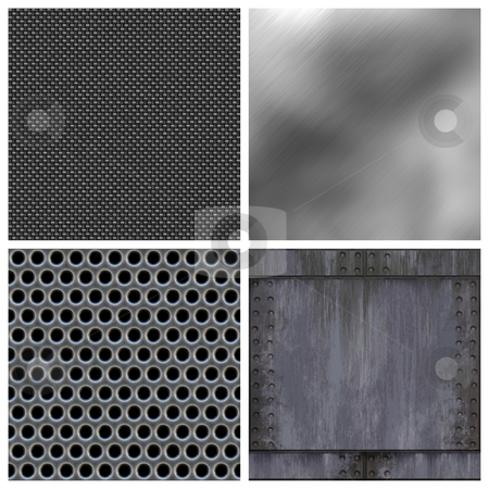 Modern Metals Collection stock photo, A collection of modern metals and carbon fiber textures. All but the top right texture tile seamlessly as a pattern. Larger versions available in my portfolio. by Todd Arena