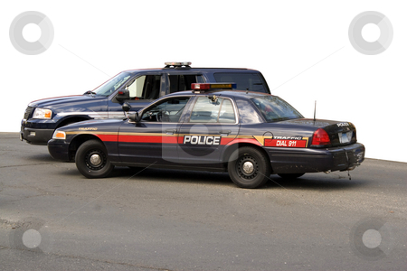Police Vehicles stock photo, A police car and sport utility vehicle parked in front of a white background.  The clipping path for the white area is included. by Todd Arena