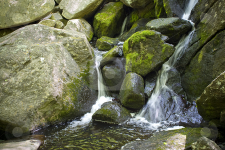 Waterfall stock photo, A beautiful waterfall flowing through some rocks in the woods. by Todd Arena