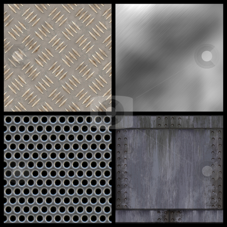 Modern Texture Collection stock photo, A collection of modern metal textures - all but the top right tile seamlessly as a pattern. Larger versions of each are also available in my portfolio. by Todd Arena