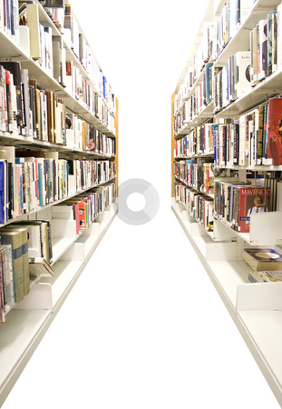 Isolated Library Shelves stock photo, The aisles in a public library with shelves full of books - isolated over white. by Todd Arena