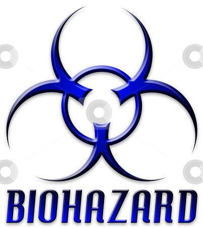 Beveled Red Biohazard Logo stock photo, Danger! The BIOHAZARD symbol and type in blue and black. by Todd Arena