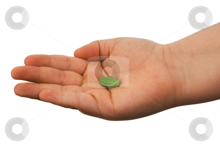 Medication stock photo, Closeup of a hand showing off a pill, isolated against a white background by Richard Nelson