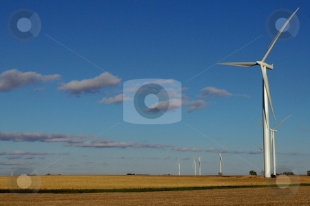 Wind power stock photo, A cluster of wind turbines at work on southern Minnesota farmland.  Alternative energy sources like this are expected to receive emphasis in coming years. by Dennis Thomsen