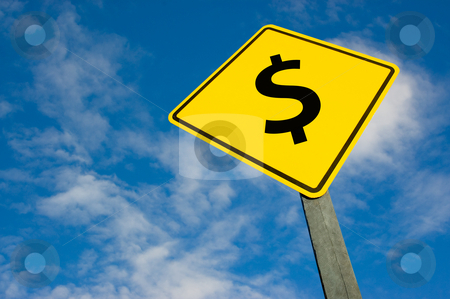 Dollar on road sign. stock photo, Dollar symbol on a yellow traffic sign. by Pablo Caridad