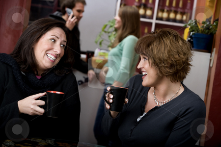 Two women in a coffee house stock photo, Two pretty adult women in a coffee house by Scott Griessel