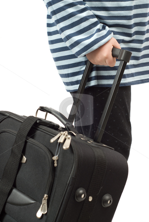 Going On Vacation stock photo, Closeup view of someone pulling their suitcase, isolated against a white background by Richard Nelson