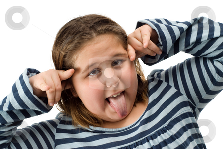Child Making Faces stock photo, A young child making funny faces, isolated against a white background by Richard Nelson