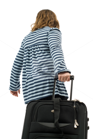 Going Away stock photo, A young girl pulling a suitcase, isolated against a white background by Richard Nelson
