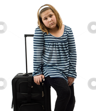 Runaway stock photo, A runaway girl with her luggage, isolated against a white background by Richard Nelson
