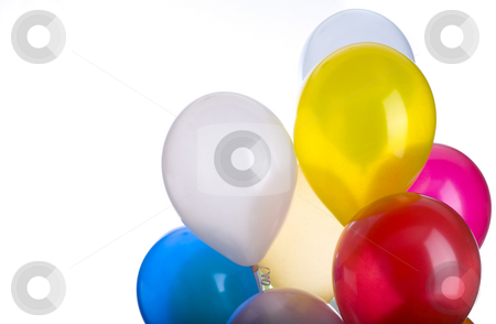 Balloon Bunch With Copy Space stock photo, A ballon bunch with copy space isolated on white. by John McLaird