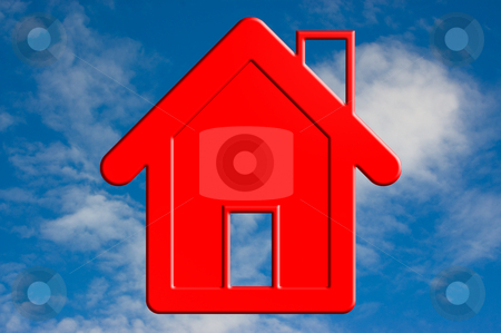 Red house in sky. stock photo, A Red house in the blue sky. by Pablo Caridad