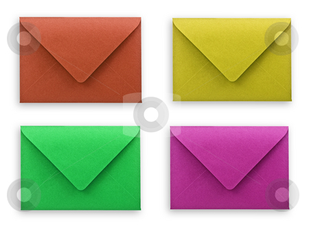 Envelopes white background clipping path. stock photo, Assorted envelopes on white background, clipping path. by Pablo Caridad