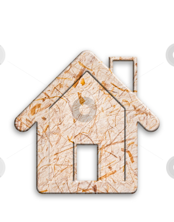 Recycled paper house. stock photo, Recycled paper house, white background, clipping path. by Pablo Caridad