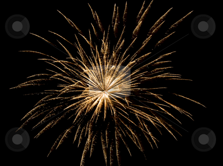 Golden firework stock photo, Golden firework exploding in the sky on the 4th of July. by Robert Ranson