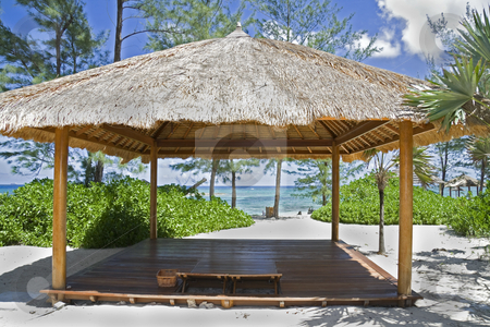 Beach hut on small tropical island stock photo, Tropical hit on beautiful small tropical island. by Robert Ranson