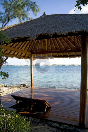 Beach hut on tropical island stock photo, Beach hut on small and beautiful tropical island. by Robert Ranson
