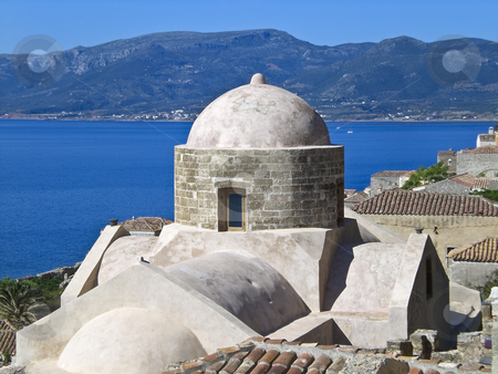 Ancient Greek architecture stock photo, Scenic high view of Monemvassia in Greece.  View of Citadel church and surround ancient architecture. by Robert Ranson