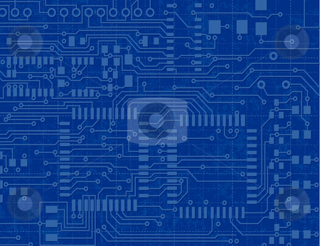 Circuit board on a blueprint background stock vector circuit board on a blueprint background malvernweather Gallery