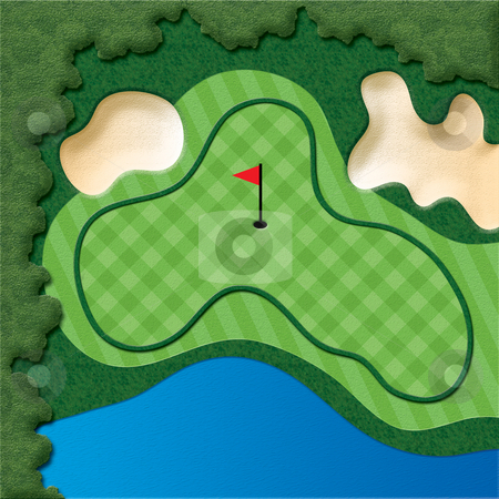 Golf Course Hole stock photo, Golf Course Hole with bunkers and water by Adrian Sawvel