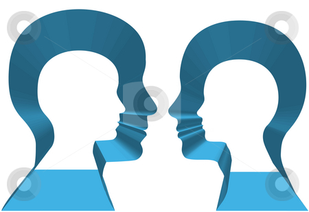 Inner Selves Man Woman Profiles Copyspace 3D stock photo, Inner selves of a couple of people in 3D profile face off. by Michael Brown