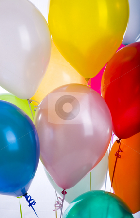 Balloons Vertical Detail Eleven stock photo, Balloons in a vertical detail of eleven by John McLaird