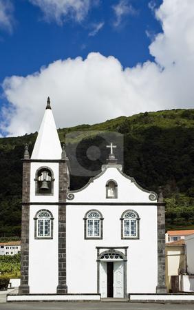 White church stock photo, Small church in Pico Island, Azores, Portugal by Manuel Ribeiro