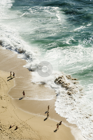 Beach birds eye view stock photo, Bathers contemplating the heavy sea, Portugal by Manuel Ribeiro