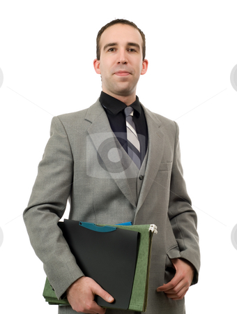 Portrait Of A Businessman stock photo, A portrait of a young businessman holding his files, isolated against a white background by Richard Nelson