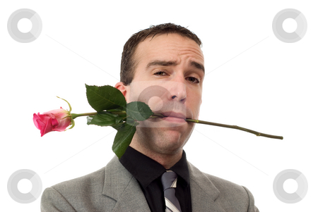 Be My Valentine stock photo, Closeup view of a young man wearing a suit with a single rose in his mouth, isolated against a white background by Richard Nelson