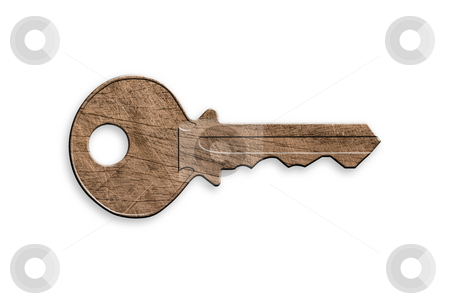 Wooden key, clipping path. stock photo, Wooden key on white background, isolated, clipping path. by Pablo Caridad