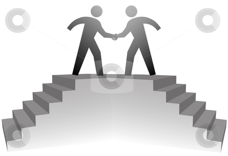 People climb stairs to meeting platform to handshake on deal stock vector clipart, Two business people climb stairs to a podium to shake hands on deal. by Michael Brown