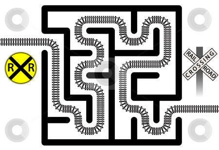 Railroad Maze Solution of Train Tracks and Crossing Signs stock vector clipart, A railroad track winds thuough a maze solving the puzzle - crossing signs included for transporation safety. by Michael Brown