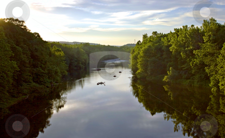 Farmington River stock photo, A view of the beautiful Farmington river in Connecticut.  Fly fishermen are wading in the water in the distance. by Todd Arena