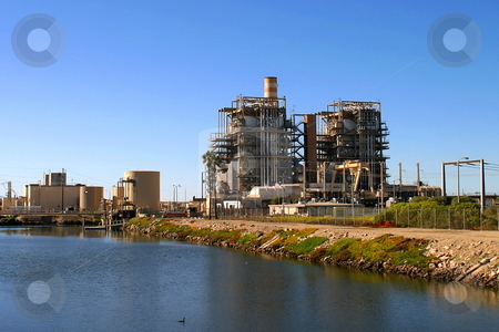 Power Station stock photo, Natural gas power plant near Ventura California. by Henrik Lehnerer