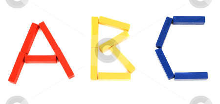 ABC stock photo, The letters abc spelled using long colored wooden blocks by Richard Nelson