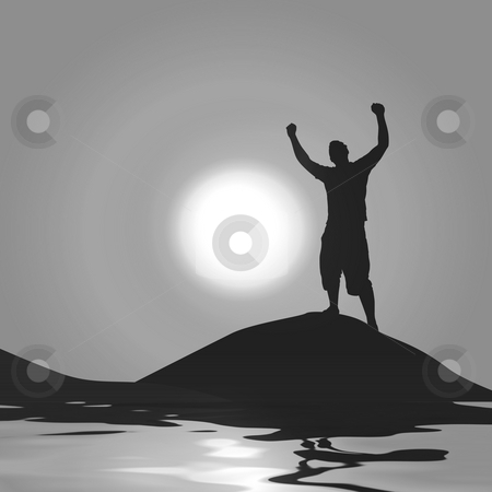 Moonlight Victory stock photo, A silhouette of a man with his arms raised up in the air in front of the moon. by Todd Arena