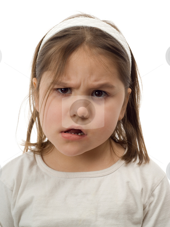 Confused Child stock photo, Closeup of a young child making a confused face, isolated against a white background by Richard Nelson