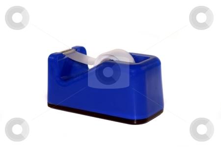 Tape Dispenser stock photo, Blue tape dispenser on white background by Henrik Lehnerer