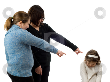 Bullying stock photo, Two older girls pointing and laughing at a young child, isolated against a white background by Richard Nelson