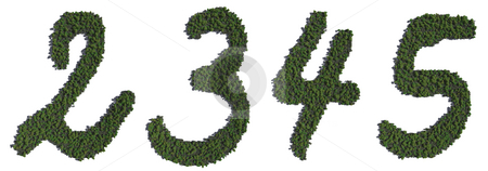 Tree Numbers stock photo, A series of CG numerical characters populated with trees. by Allan Tooley