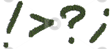 Tree punctuation stock photo, CG alphabetic characters populated with trees. by Allan Tooley