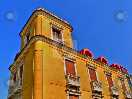 Yellow building stock photo, Yellow buiding in the city of Murcia in Spain by Laurent Dambies