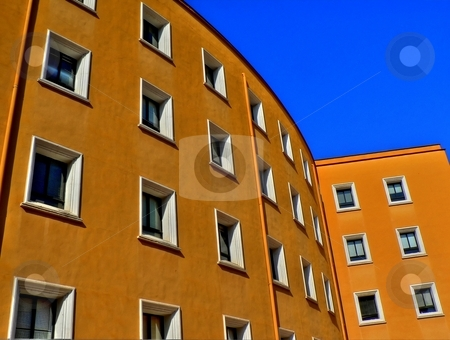 Orange building stock photo, Students residential  building in the city of Murcia Spain by Laurent Dambies